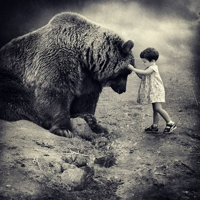 Courage-girl with bear